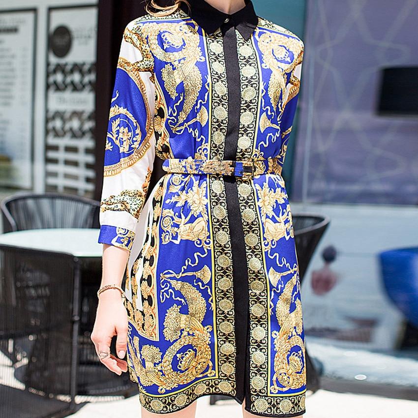 New 2018 Autumn Fashion Women Brand Designer Pattern A-Line Dresses Vintage Sashes Print Party Midi Dress   Vestidos