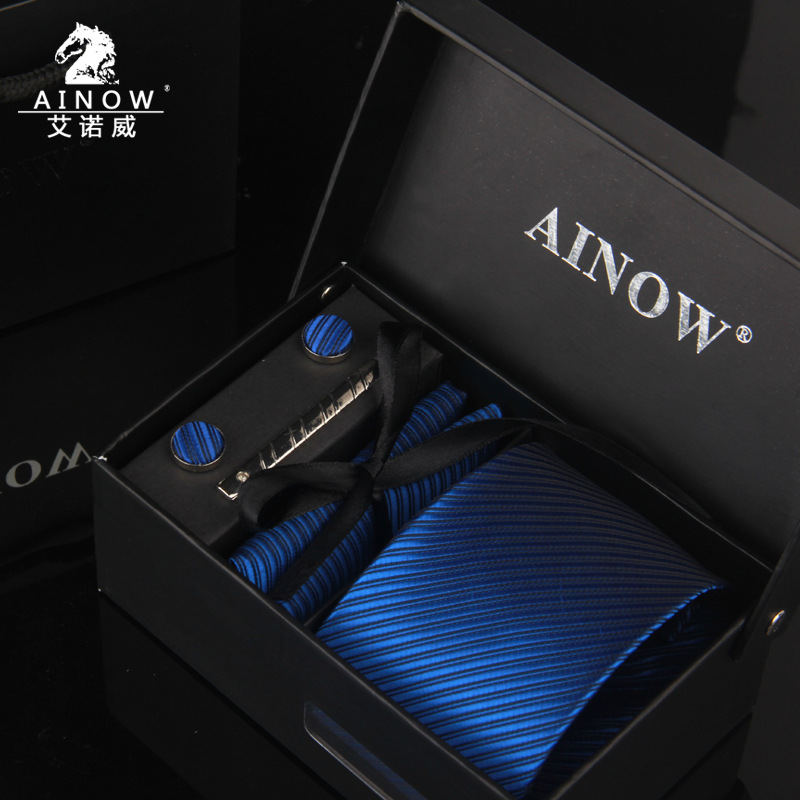 3.35inch Wide Tie Man Wedding Tie Paisley Jacquard Arrow Men Tie, Handkerchief, Pin Cufflinks Gift Box Packaging Business