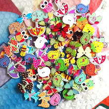 50pcs/pack Mixed Wooden Sewing Buttons for Handcrafts Scrapbooking Accessories Decorative Chic Animal Wooden buttons for crafts