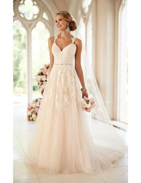 2017 Stunning Princess Bridal A line Wedding Dress Bold Beaded ...