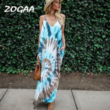 ZOGAA Boho Printed Long Party Women Dress Casual V neck Vestido New Sexy Backless Hippy Chic Tie Dye Beach