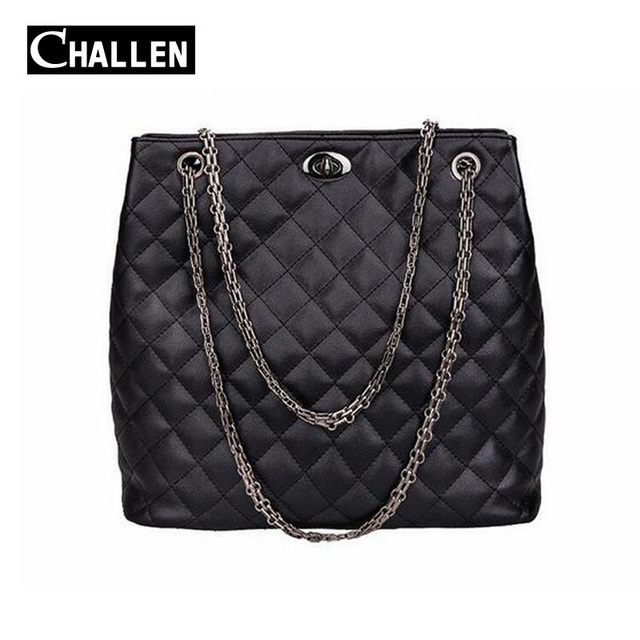 2016 luxury women bag quilted chain bag high quality soft pu leather shoulder bags female tote famous brand women's handbags