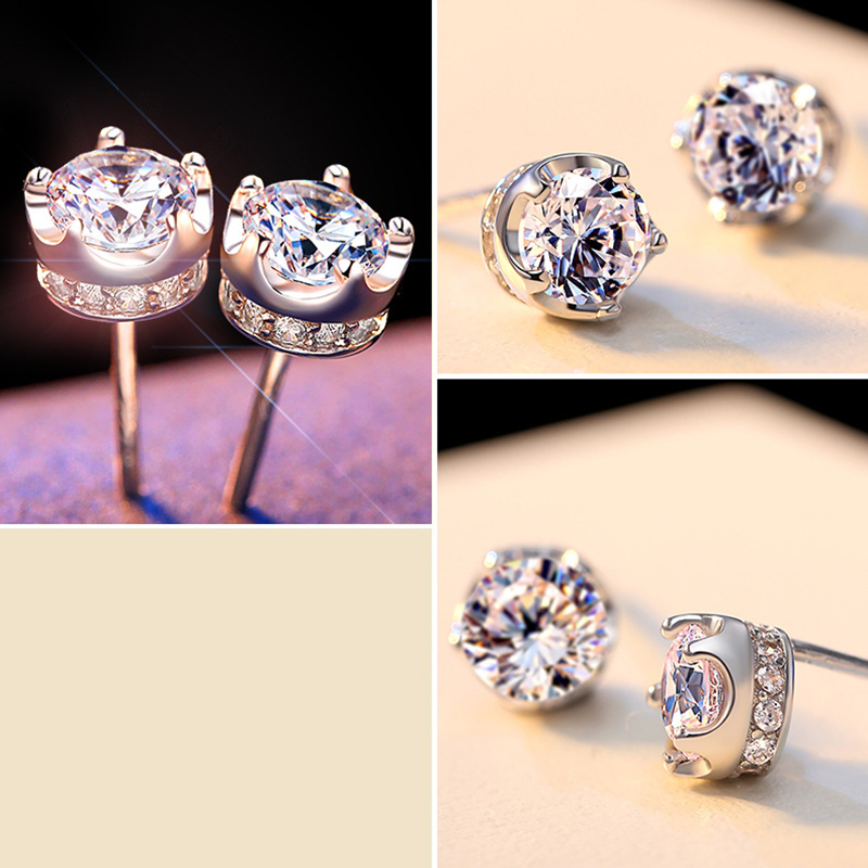 PANSYSEN Natural Purple Amethyst Stud Earrings For Women Real 925 Sterling Silver Crown Crystal Wedding Party Jewelry Earring