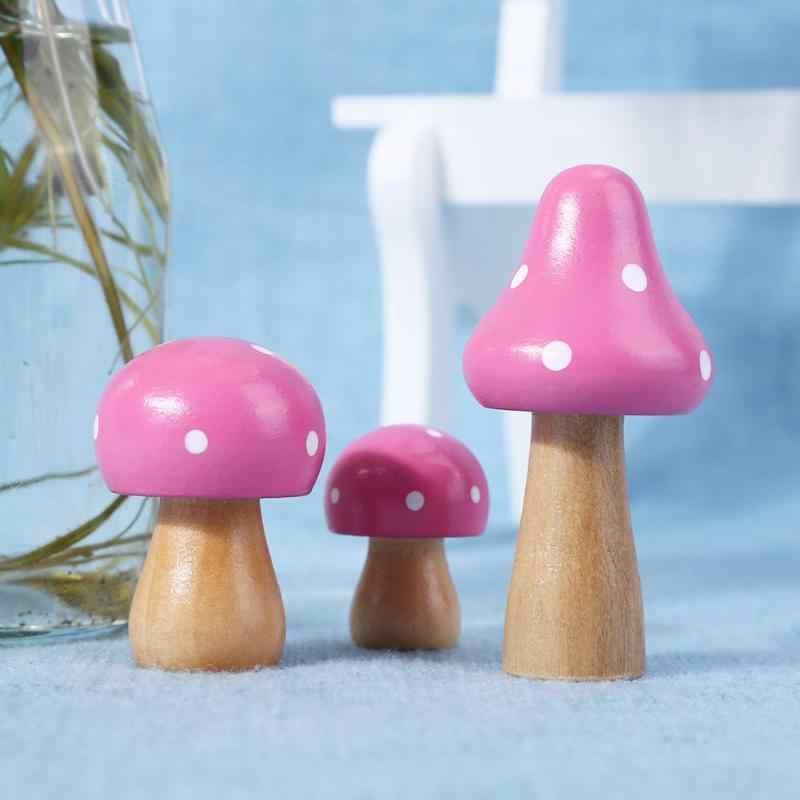 3 Pcs/set Cute Kayu Lukisan Jamur Ornamen Kerajinan Miniatur Dekorasi Rumah