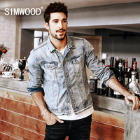 SIMWOOD 2016 New Autumn Winter Denim Jacket Men Outerwear Fashion Casual Coats Slim Fit Cotton NJ6514