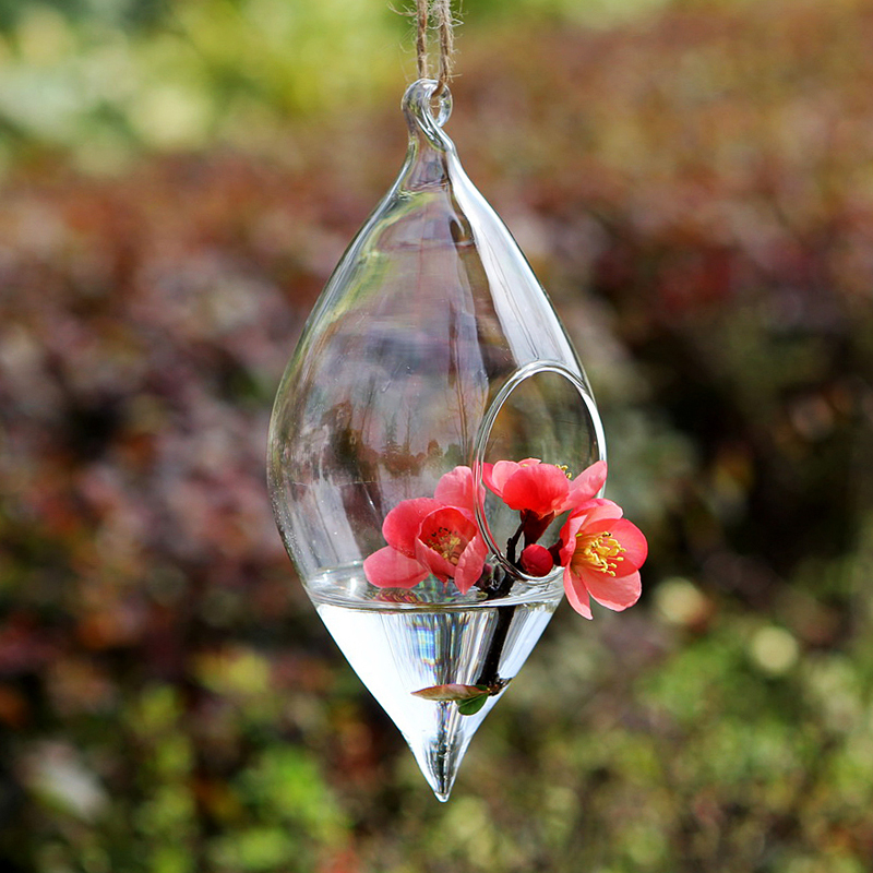 Teardrop crystal glass flower vase glass terrarium  Hydroponics hanging Vase