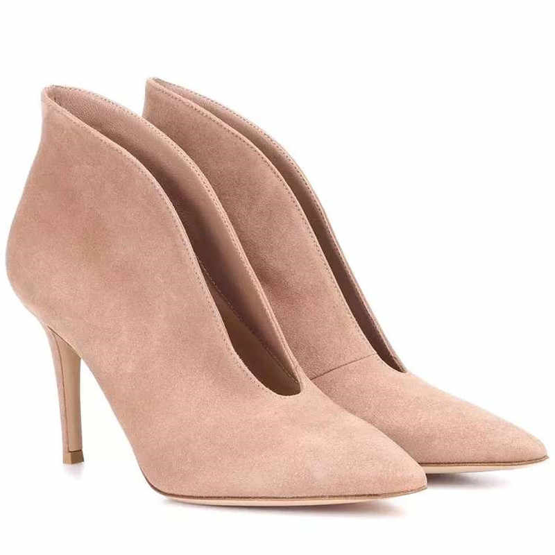 fa4ad317ddc52 Fashion Open Vamp Bootie Sexy Pointed Toe High Heel Ankle Boots Deep V Front  Slip On