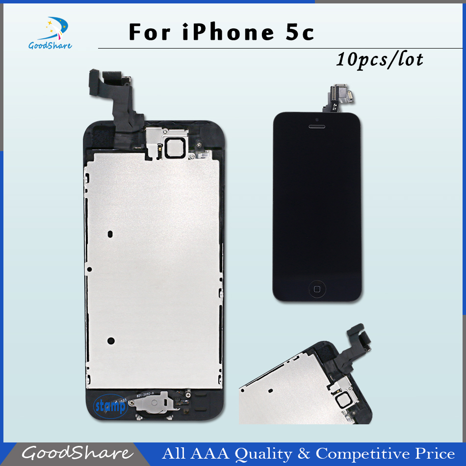 10 PCS/LOT AAA LCD Display Screen Full Assembly For iPhone 5c+Frame+Inside/Outside Key Flex Cable+Front Camera Free DHL Shipping
