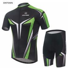 XINTOWN Ropa Ciclismo Bike Cycling Jerseys Clothing Sets Bicycle Men Wear Shirts Padded Bib Shorts Black-Green