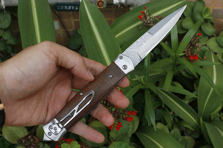 Image 3 - Free shipping sharp Damascus steel imports blacksmithing camping tool folding knife wood handle outdoor self defense knife-in Knives from Tools