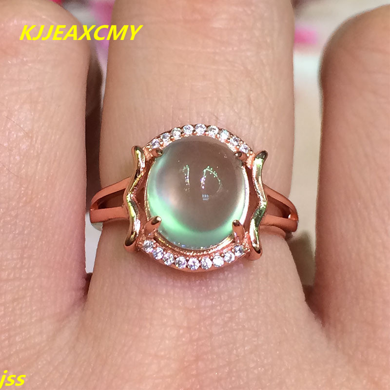 KJJEAXCMY Fine jewelry 925 Silver Natural Gemstone natural grape stone in the ring of rose gold activity ring L72 fine jewelry 925 silver natural prehnites gemstone natural grape stone trumpet ring father s day gift