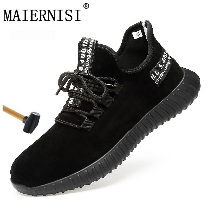 Work & Safety Boots Safety Shoes Mens Steel Toe Lightweight Anti-smashing Indestructible Breathable Sneakers Men Outdoor Toe Footwear Work Safety Men's Boots