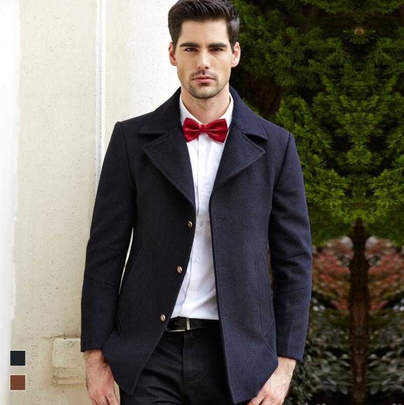 Men slim fit overcoat Winter classic colors Men Wool Blends Cashmere Coat Woolen Coat casual windbreaker Jackets Hot Sale