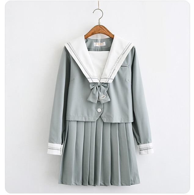 2019 gris-vert japonais école uniforme jupe jk uniforme classe uniformes marin costume collège vent costume femmes étudiants uniformes