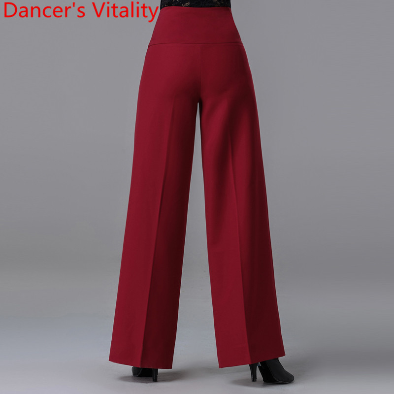 New Modern Latin Ballroom Dance Women Long Loose Pants Practice Trousers Black Red 2 Colors National Standard Waltz Jazz Clothes 2