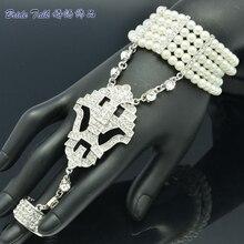Silver Tone Women Jewelry Flower Bracelet Ring Set Pearl Wedding Party Rings Stretch Rhinestone Crystal Free Shipping 9726