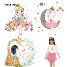 Nicediy Cartoon lovely Girl Patch Heat Transfer Vinyl Sticker Iron On For Clothing Kids Patches Washable Decor DIY