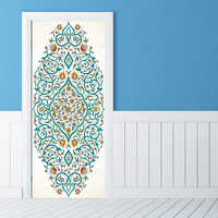 Blue Flower Islamic patterns door Pvc Poster decal sticker Allah self-adhesive wallpaper Bedroom Home Decor YMT107