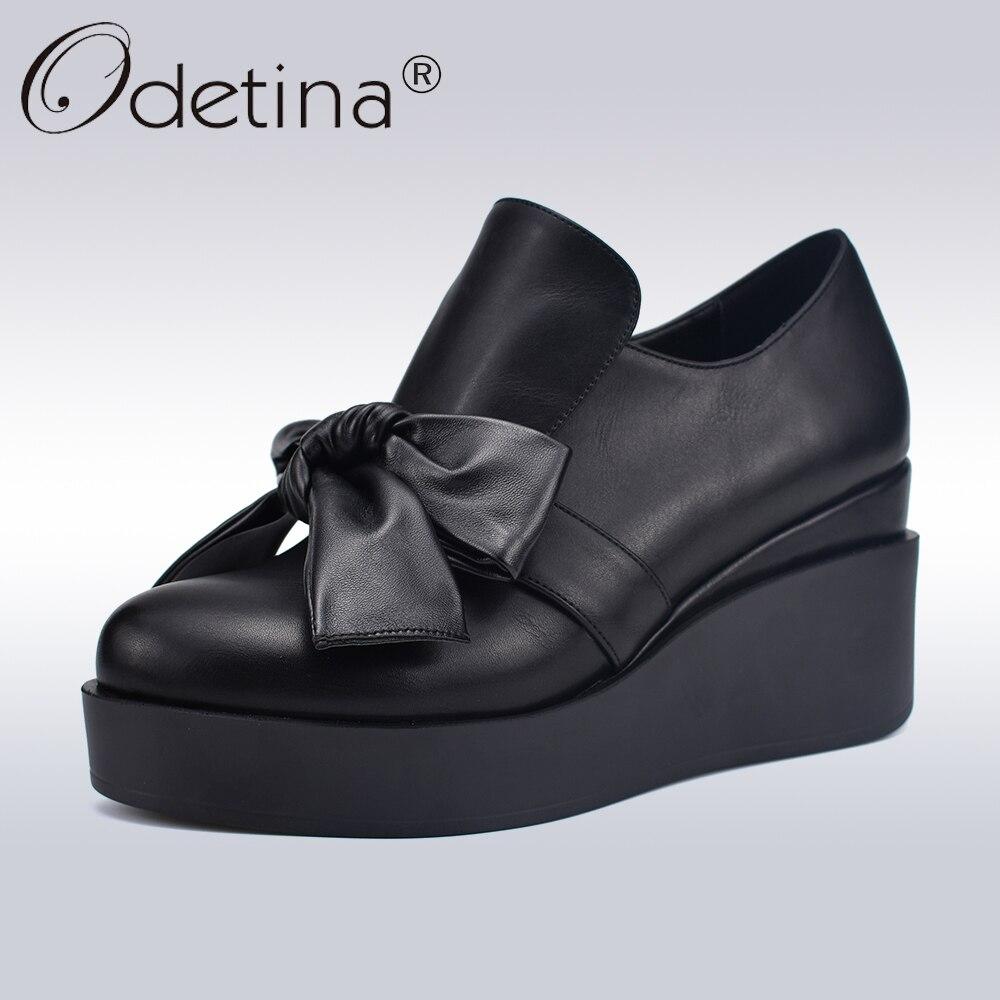 Arc Cravate Printemps Wedge Odetina Femmes On forme Mode Plate Talons Nouvelle Automne À Grand Slip Hauts Lady Chaussures Haute Casual Pompes Noir Qualité SxORgAxn