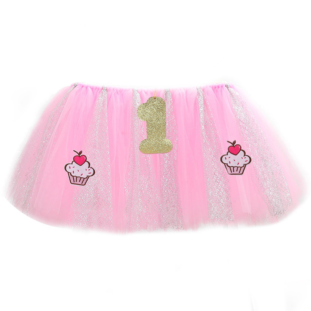 Newborn Baby 1st Birthday Party High Chair Skirt Tulle Tutu Glitter Baby Shower Tablecloth Decoration