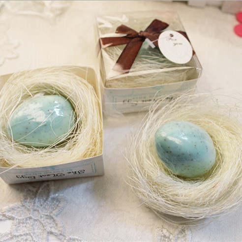 Online Shop 50pcs Wedding Favor Pink And Blue Nest Egg Soap Baby