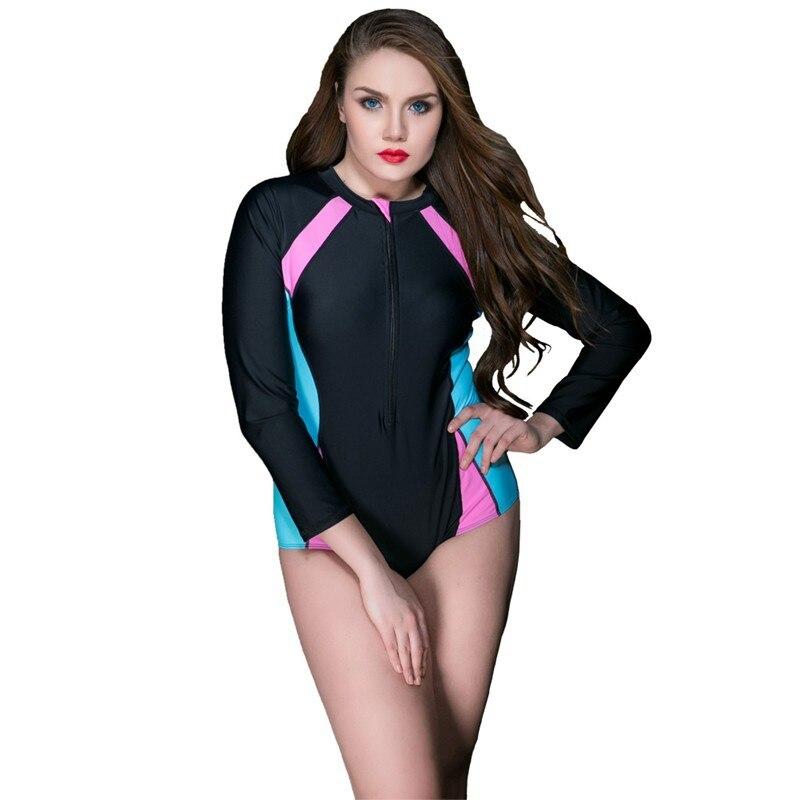 2018 Long Sleeve Plus Size Swimsuit For Girls One Piece Swimwear Women Surf Swimsuit Rash Guard Beachwear Women's Swimsuits plus size scalloped backless one piece swimsuit