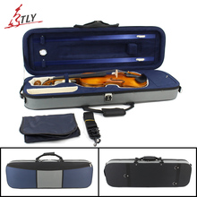 Black Gray & Blue Stitching Canvas Rectangle Violin Case Large Storage Space w/ Hygrometer Straps for 4/4 3/4 1/2 1/4 1/8 Violin