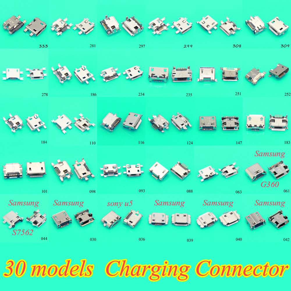 30Models 300pcs/lot Female Micro USB Connector Socket Charging Port For Samsung Lenovo Huawei Zte Sony Meizu Etc Mobile Phone