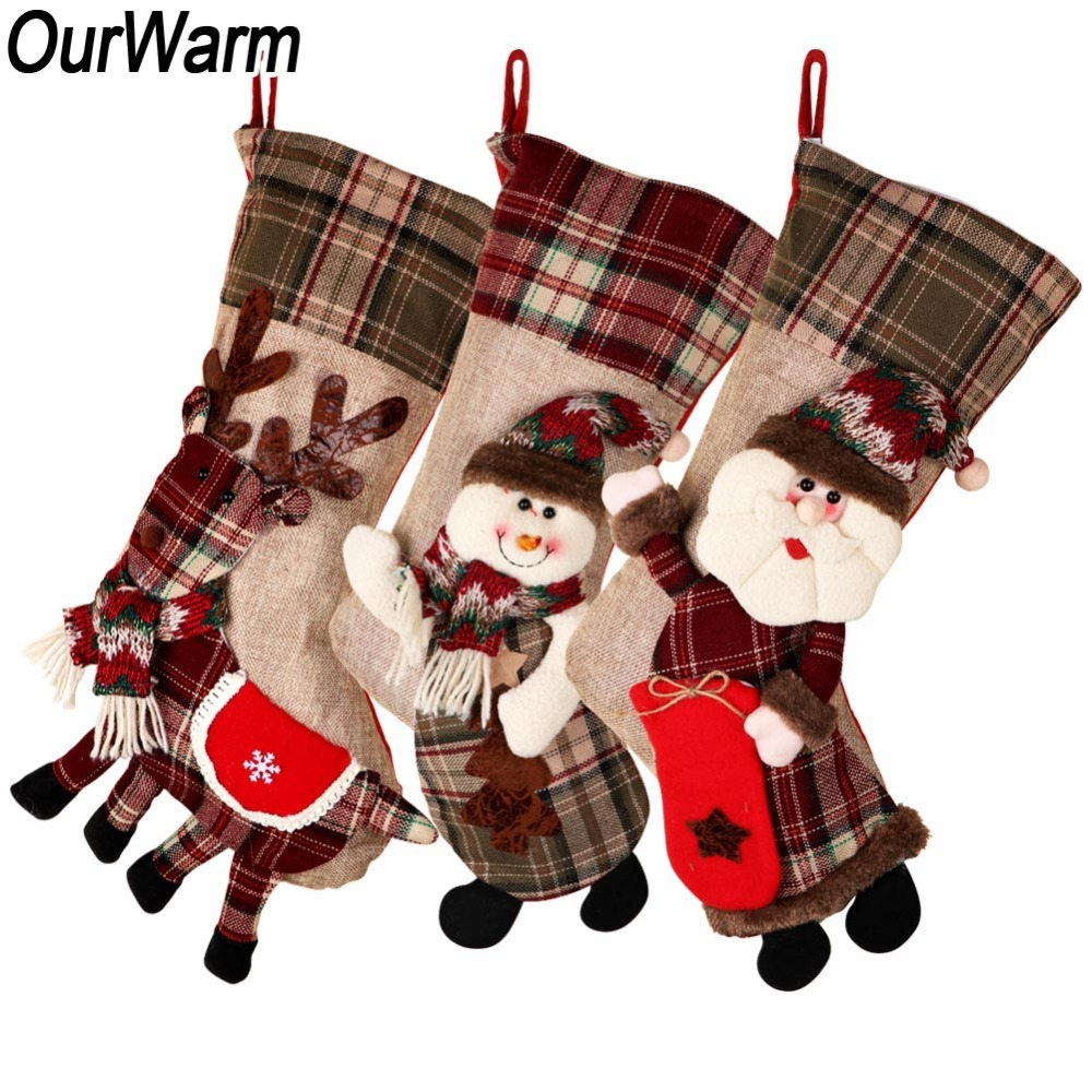 Image 2 - OurWarm Large Christmas Stocking Santa Claus Sock Plaid Burlap Gift Holder Christmas Tree Decoration New Year Gift Candy Bags-in Stockings & Gift Holders from Home & Garden