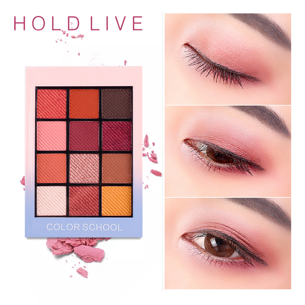 HALTEN LIVE 12 Vollen Farben Matt Lidschatten Palette Pigment Glitter Lidschatten Paletten Nude Schatten Kosmetik Koreanische Make-Up Augen