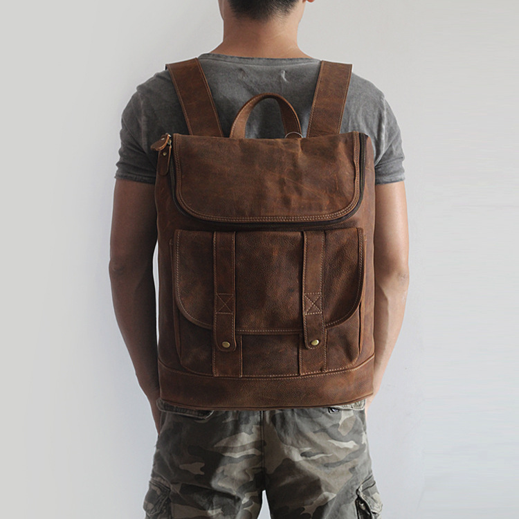 2017 vintage unisex genuine leather backpack men/women all cow leather leisure travel knapsack 15 inch laptop cowhide field pack