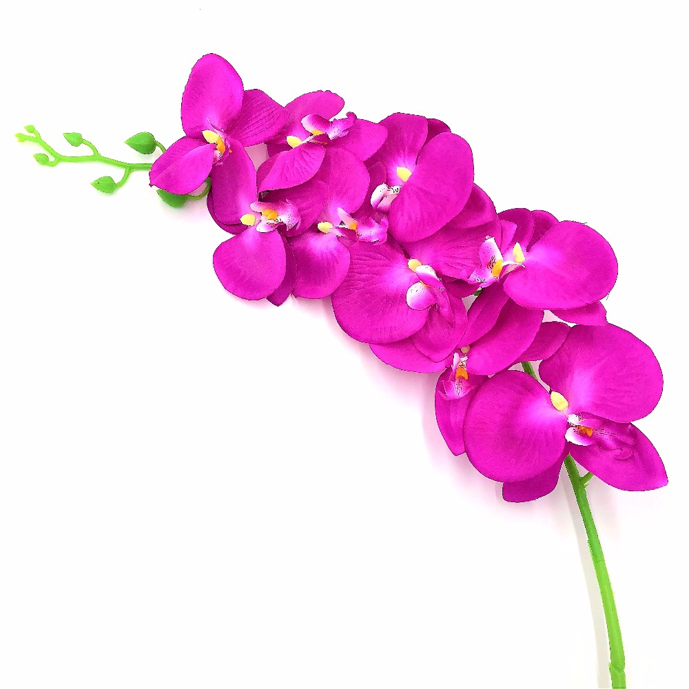1pc 9heads 12cm Branch Artificial Orchid Flower Silk Phalaenopsis