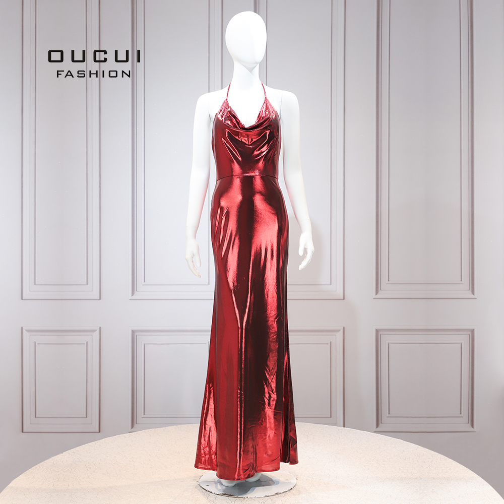Halter Sleeveless Red   Cocktail     Dress   Elegant Luxury Party Gowns Vestido De Coctel Knitting Robe De Soiree OL103525
