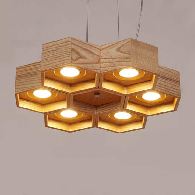huge discount cce15 cbceb Wooden Honeycomb vintage pendant light lamp 6 kinds Modern simple LED  handmade wooden Hanging Lamp for living room cafe bar deco