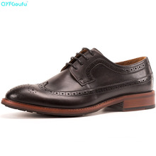 QYFCIOUFU Genuine Leather Casual Men Shoes Fashion Flats Round Toe Office Dress Vintage New Brogue