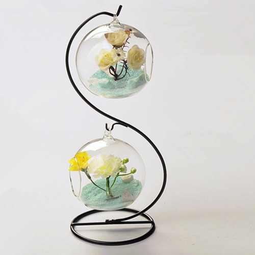 Free Shipping One Set S Type Glass Vase With Metal Stand Home