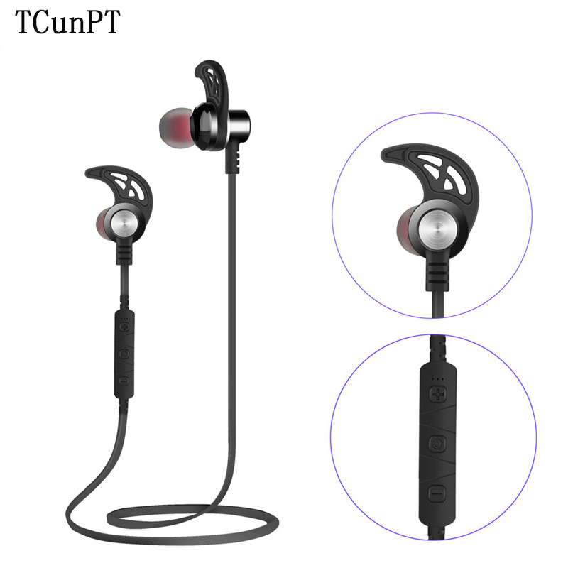 TCunPT New Bluetooth Wireless Headset Stereo Earphones Magnetic Sports Headphones Super Bass Earbuds for IPhone Xiaomi HUAWEI