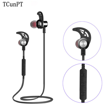 TCunnPT New Bluetooth Wireless Headset Stereo Earphones Magnetic Sports Headphones Super Bass Earbuds for IPhone Xiaomi HUAWEI