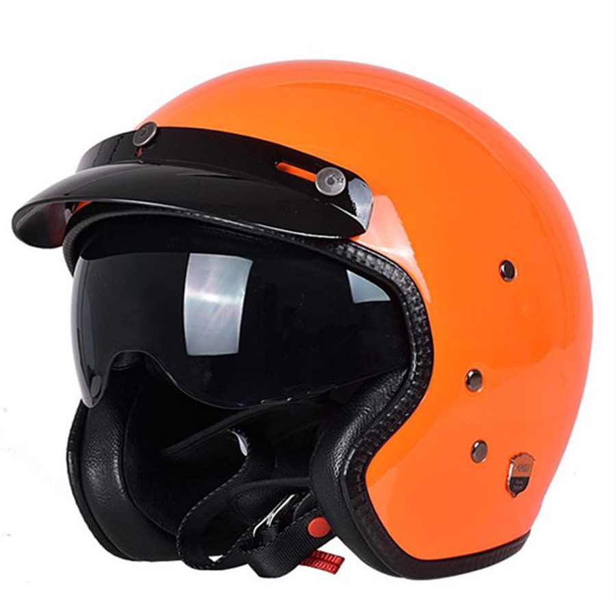 Fashion 3/4 Half Open Face Vintage Motorcycle Helmet Electronic Motorbike Scooter Helmets Retro Moto Capacete Casco For Unisex yohe undrape face motorcycle helmet yh 936 open face motorbike helmets made of abs visor is for pc material 10 kinds of colors
