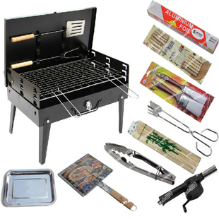 Outdoor folding portable BBQ household charcoal grill rack cabob box meat machine outdoor products