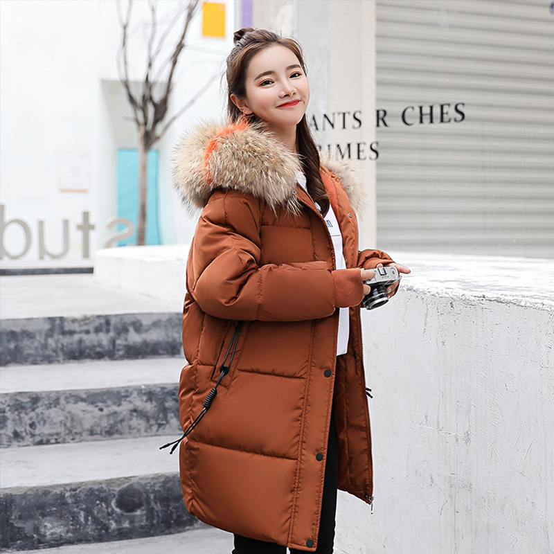 Winter Jacket Women Long Hooded   Parka   Fur Collar Warm Outerwear Plus size Loose Fashion Padded Female Jackets Woman Coat   Parka