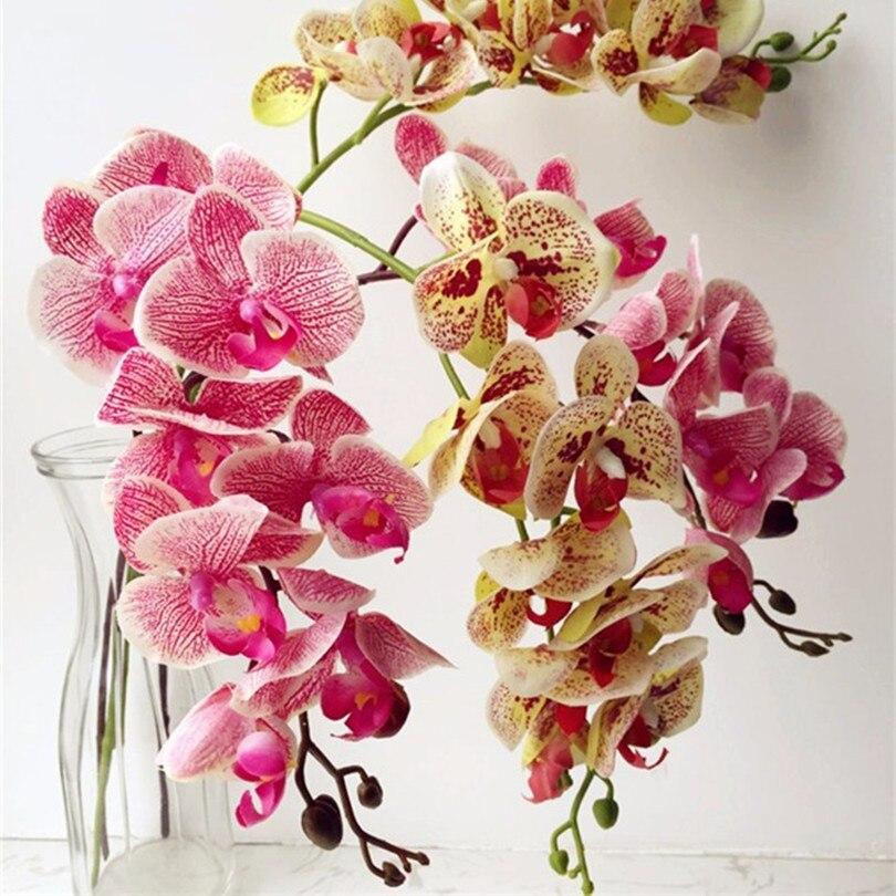 Neue Ankunft 3d 90 Cm Künstliche Blume Phalaenopsis Latex Beschichtung Seide Blume Real Touch Orchidee Orchidee Multicolor Hochzeit Festliche & Party Supplies Künstliche Dekorationen