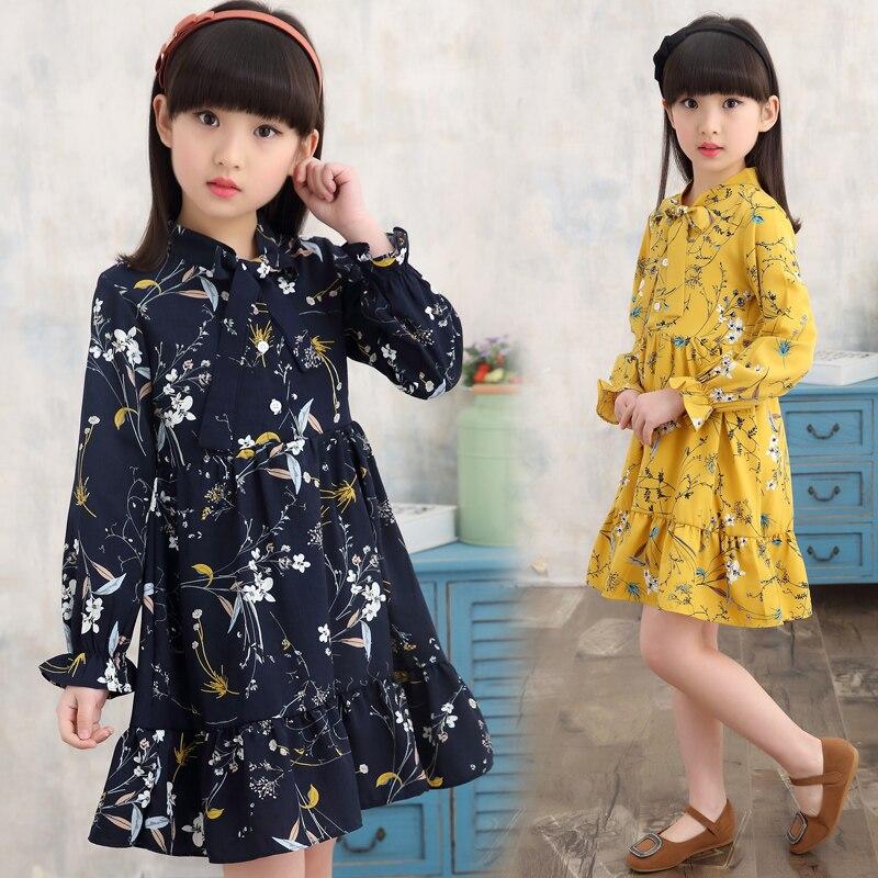 girl summer dress long sleeve children clothes floral dresses  3 5 8 10 12 years girl vestidos enfant yellow white korean dress 4