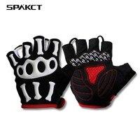 SPAKCT Cycling Gloves Short Finger Racing Pro MTB Sport GYM Bike Gloves Gel Pad Skull Fixed