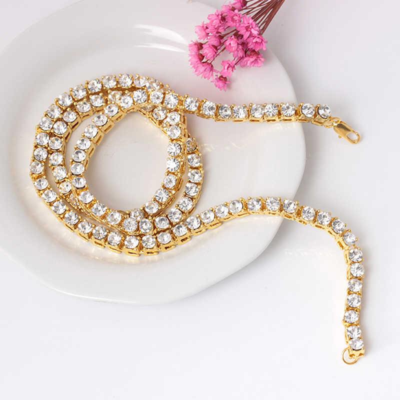 40/60cm złoty kolor łańcuch tenisowy Hip Hop Bling Bling Iced Out Row naszyjniki luksusowa marka mężczyzna/damski łańcuszek biżuteria