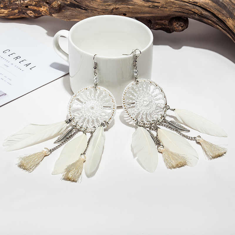 לוכד חלומות הולו מתוך Vintage עלה נוצה להתנדנד עגילים בסגנון בוהמיה נשים של גברת עגיל תכשיטים הודיים אתניים