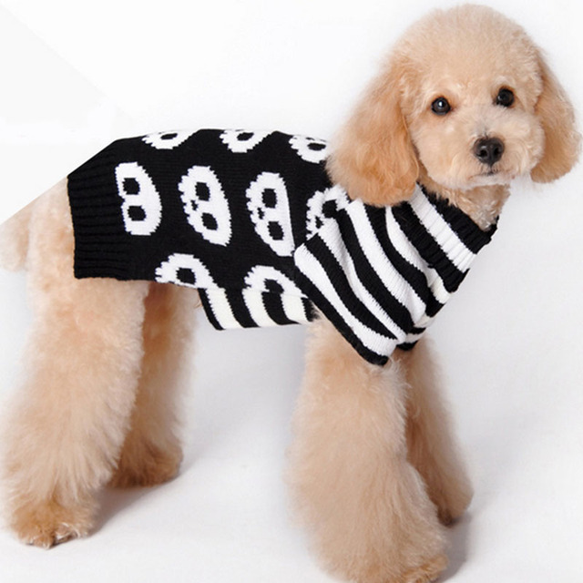 Pet Dog Sweater Blackwhite Skeleton Cool 100cotton Small And