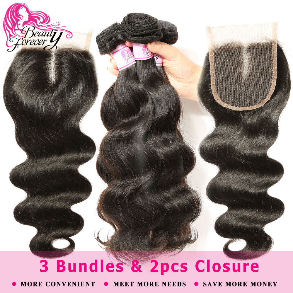 Beauty Forever Body Wave Malaysian hair 3 Bundles with 2pcs Closures 4 4 Remy Human Hair