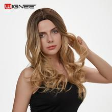 Wignee Long Wavy Hair Synthetic Wigs For Women Heat Resistant Middle Part Ombre Brown/Blonde Body Wave Fake Wig