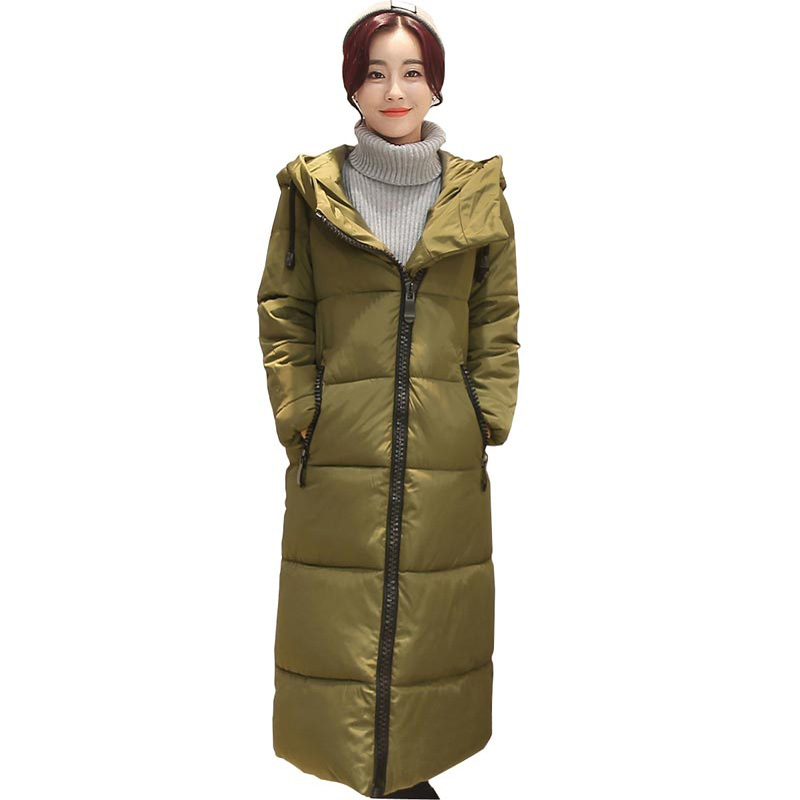 ФОТО 2016 winter cotton coat women's jacket long hooded cotton parka x-long thick women clothing good quality loose jacket kp1298